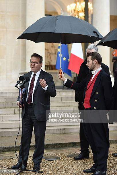 Director of Paris' public assistance hospitals APHP Martin Hirsch speaks to journalists following a meeting with French President Francois Hollande...