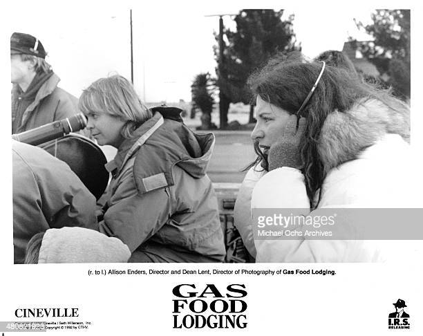 Director of Photography Dean Lent and director Allison Anders on the set of the movie 'Gas Food Lodging' circa 1992