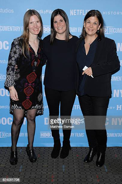 """Director of Photography Laela Kilbourn, director Lara Stolman and editor Ann Collins attend the New York premiere of """"Swim Team"""" at DOC NYC on..."""