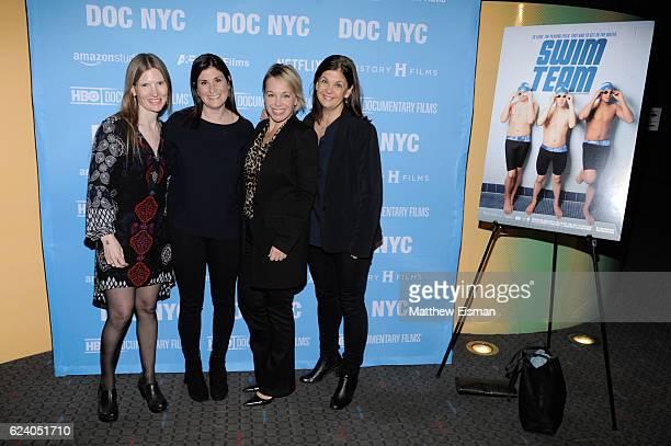 "Director of Photography Laela Kilbourn, director Lara Stolman, producer Shanna Belott and editor Ann Collins attend the New York premiere of ""Swim..."