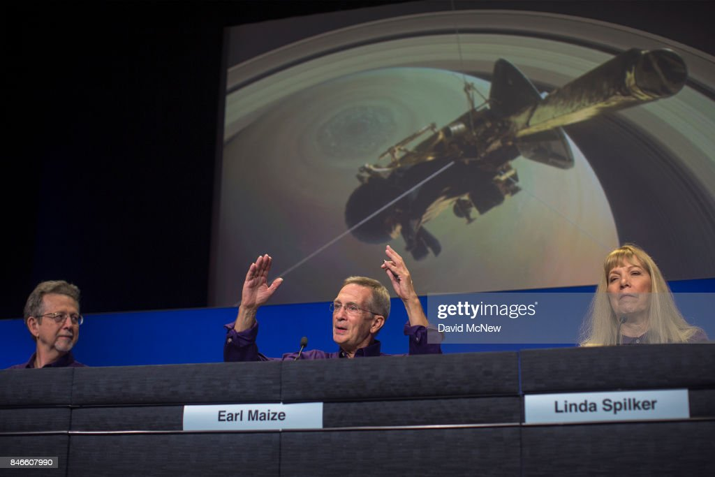 Director of Planetary Science, NASA, Jim Green (L), Cassini Project Manager, Earl Maize, and Cassini Project Scientist, Linda Spilker, address a news conference at Jet Propulsion Laboratory (JPL) as NASA's Cassini spacecraft nears the end of its 20-year mission by crashing into Saturn, on September 13, 2017 in Pasadena, California. It took Cassini seven years to reach Saturn after its 1997 launch where it has been exploring the ringed planet and its many moons for the past 13 years. It will continue to transmit data and never before seen photos to Earth for as long as possible before breaking up and crashing.