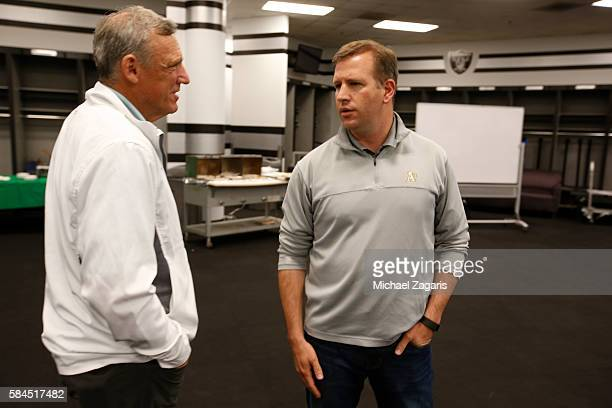 Director of Player Development Keith Lieppman and General Manager David Forst of the Oakland Athletics talk in the war room during the first day of...