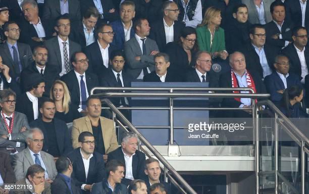 Director of PSG JeanClaude Blanc former French President Francois Hollande President of PSG Nasser Al Khelaifi former French President Nicolas...