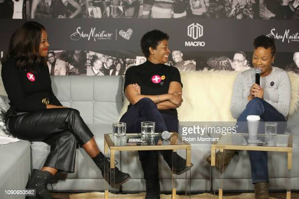 Director of Public Engagement PPFA Alencia Johnson Filmmaker Dawn Porter and Director/Screenwriter of 'A Long Walk' Chinonye Chukwu speak onstage...