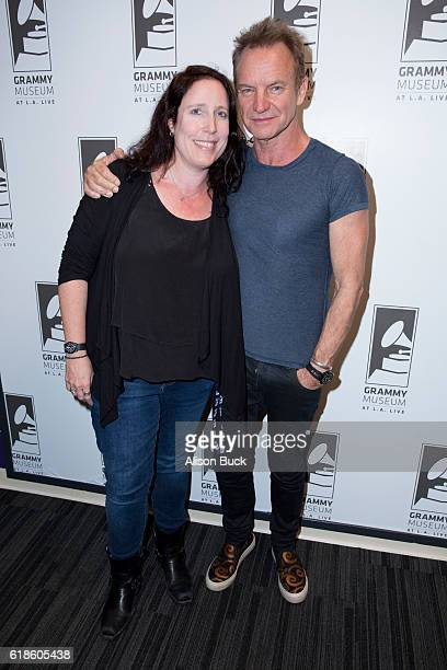 Director of public programs and artist relations for the GRAMMY Museum Lynne Sheridan and singer/songwriter Sting attend An Evening With Sting at The...