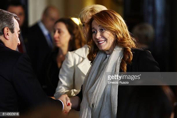Director of RAI Monica Maggioni attends the celebrations for International Women's Day at Palazzo del Quirinale on March 8 2016 in Rome Italy