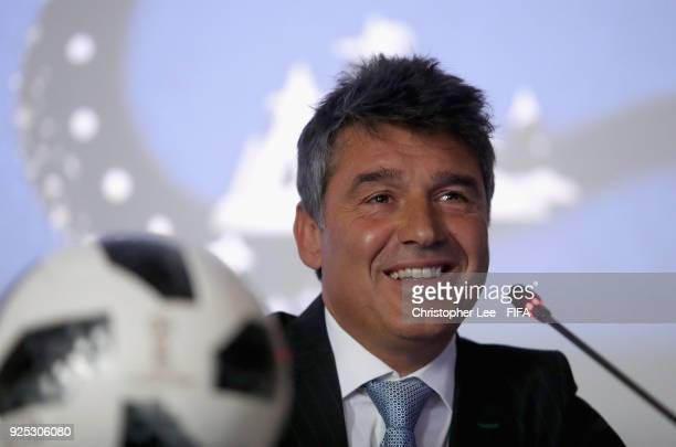 Director of Refereeing Massimo Busacca talks to the Participating Member Associations during Day 2 of the 2018 FIFA World Cup Russia Team Workshop on...