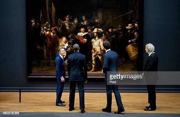 Director of Rijksmuseum Wim Pijbes shows US President Barack Obama, Prime Minister of the Netherlands Mark Rutte and Mayor of Amsterdam Mayor...