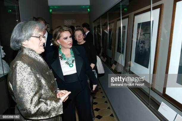Director of Rodin Museum Catherine Chevillot and GrandeDuchesse Maria Teresa of Luxembourg attend the Reception given by LLAARR GrandDuc Henri of...