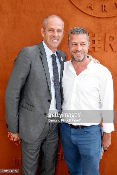 Director of Roland Garros tournament Guy Forget and CEO of Courreges Jacques Bungert attend the 2017 French Tennis Open Day Height at Roland Garros...