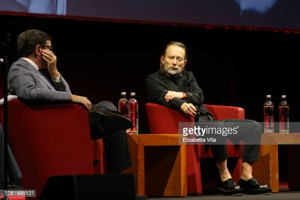Director of Rome Film Festival Antonio Monda and Thom Yorke attend the Close Encounter with Thom Yorke during the 15th Rome Film Festival on October...
