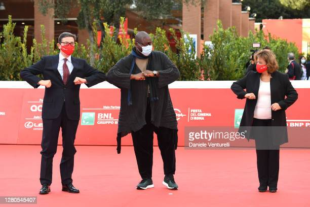 Director of Rome Film Festival Antonio Monda Director Steve McQueen and Laura Delli Colli attend the red carpet of Steve McQueen during the 15th Rome...