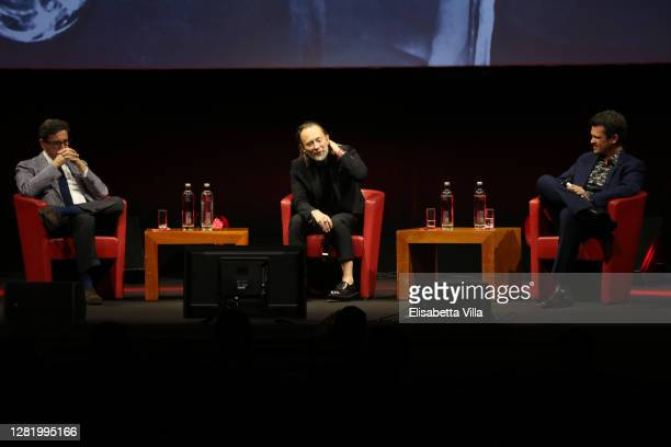 Director of Rome Film Festival Antonio Monda, Thom Yorke and Francesco Zippel attend the Close Encounter with Thom Yorke during the 15th Rome Film...