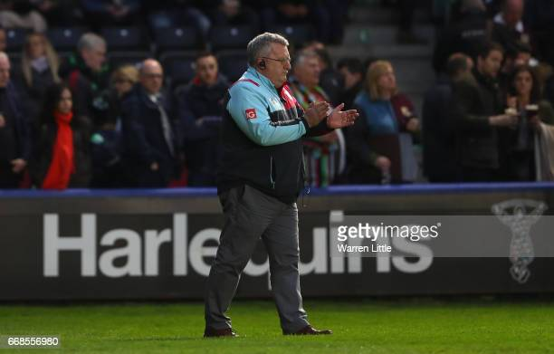 Director of Rugby and coach of Harlequins John Kingston looks on ahead of the Aviva Premiership match between Harlequins and Exeter Chiefs at...