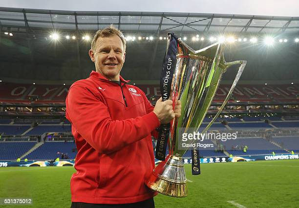 Director of Rugby Mark McCall of Saracens poses with the trophy after the European Rugby Champions Cup Final match between Racing 92 and Saracens at...