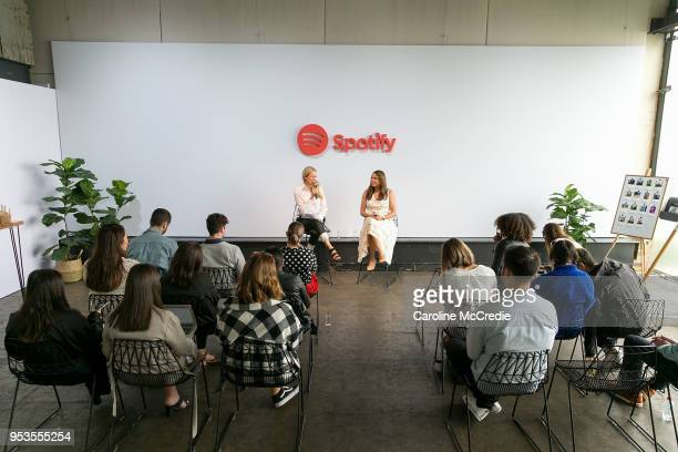 Director of Sales AU/NZ Andrea Ingham and Global Head of Partner Solutions Danielle Lee speak at the Spotify House Media Breakfast on May 2 2018 in...