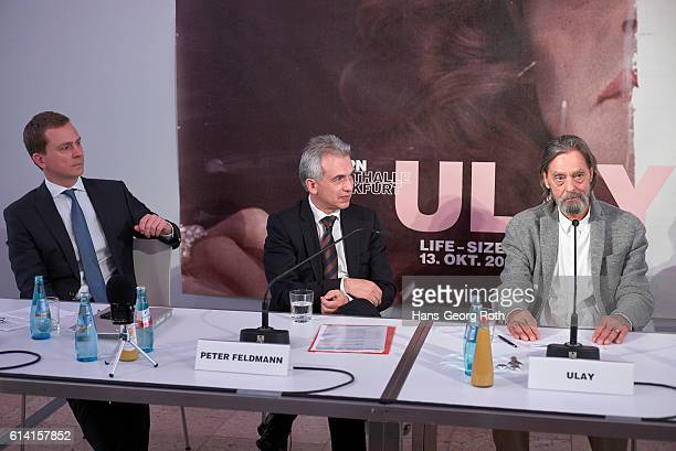 Director of Schirn Museum Phillip Demandt Mayor of Frankfurt am Main Peter Feldmann and artist Ulay are seen during a press conference for the 'Ulay...