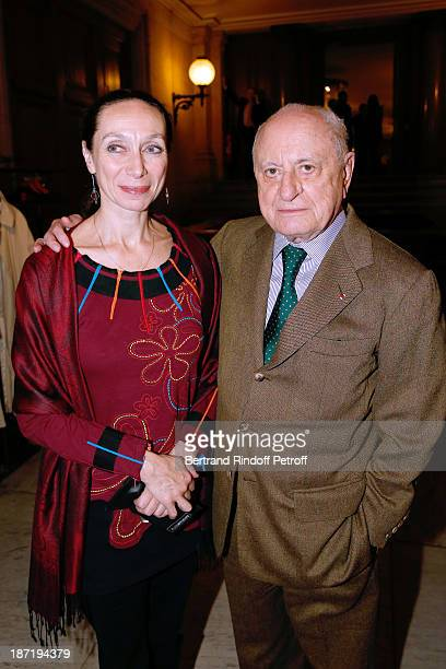 Director of School Dance of Opera de Paris Elisabeth Platel and Pierre Berge attend Star Dancer Nicolas le Riche receives the Insignia of Officer of...