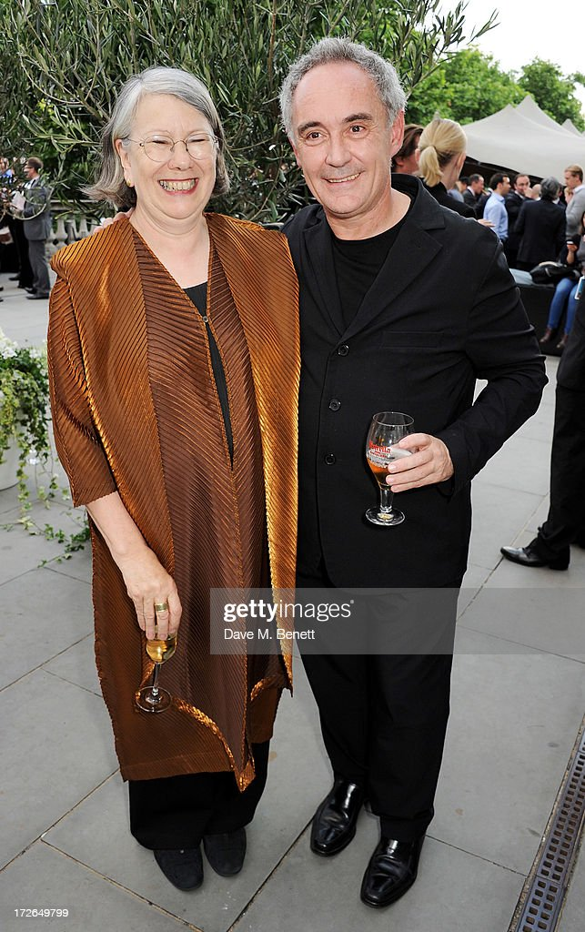 Director of Somerset House Trust Gwyn Miles (L) and Ferran Adria attend the private view of 'elBulli: Ferran Adria and The Art of Food' at Somerset House on July 4, 2013 in London, England. The exhibition, in partnership with Estrella Damm, opens on July 5th and runs until September 29th 2013.