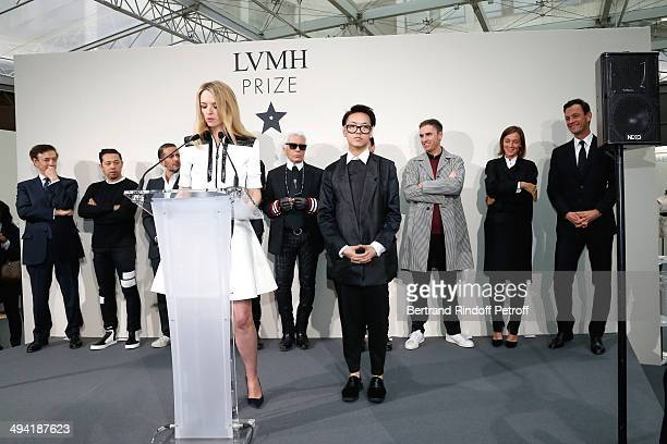 Director of sponsorship LVMH JeanPaul Claverie stylists guest Marc Jacob Initiator of the Price and Louis Vuitton's executive vice president Delphine...