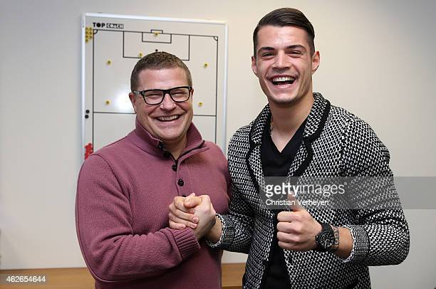 Director of Sport Max Eberl and Granit Xhaka of Borussia Moenchengladbach after signing a new contract for Borussia Moenchengladbach on February 02...