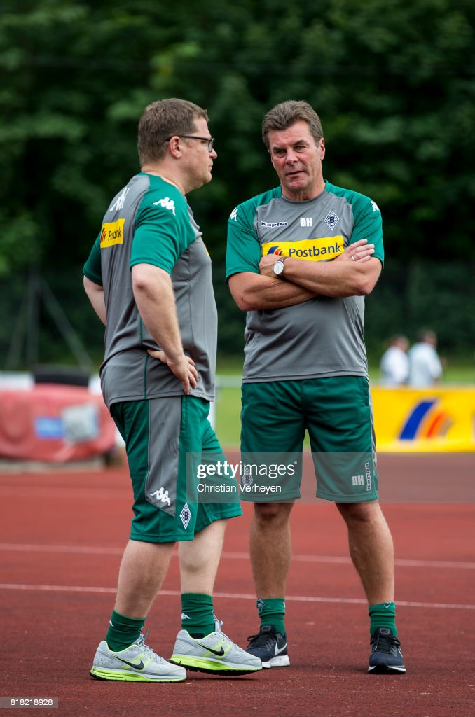 Director of Sport Max Eberl and Head Coach Dieter Hecking of Borussia Moenchengladbach during a training session at the Training Camp of Borussia Moenchengladbach on July 18, 2017 in Rottach-Egern, Germany.