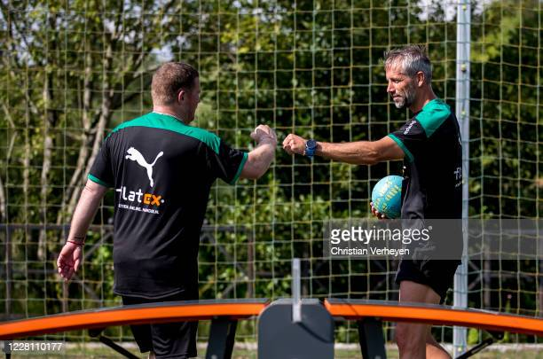 Director of Sport Max Eberl and Head Coach Marco Rose play Teqball during the Training Camp of Borussia Moenchengladbach at Klosterpforte on August...