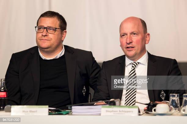 Director of Sport Max Eberl and Managing director Stephan A C Schippers of Borussia Moenchengladbach during the Annual Meeting of Borussia...