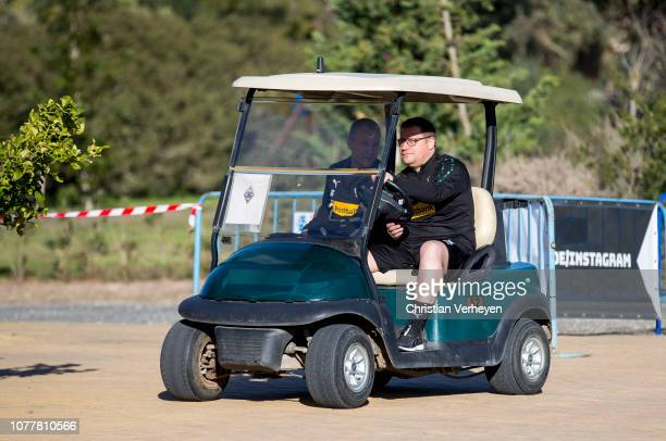 Director of Sport Max Eberl drives a golf car ahead a training session at Borussia Moenchengladbach Training Camp on January 05, 2019 in Jerez, Spain.