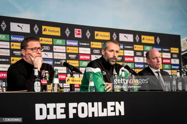Director of Sport Max Eberl Head Coach Marco Rose and Managing Director Stephan A C Schippers of Borussia Moenchengladbach talk to the media during a...