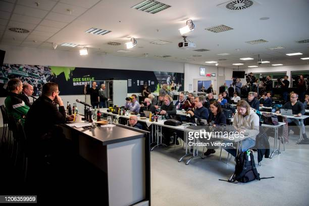 Director of Sport Max Eberl Head Coach Marco Rose Managing Director Stephan A C Schippers and Press Officer Markus Aretz of Borussia Moenchengladbach...