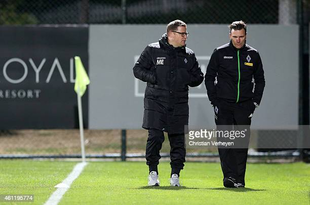 Director of Sport Max Eberl of Borussia Moenchengladbach and Teammanager Steffen Korell of Borussia Moenchengladbach during a training session at day...