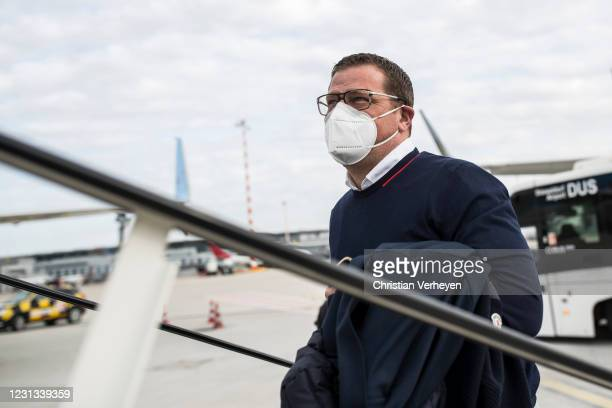 Director of Sport Max Eberl of Borussia Moenchengladbach is seen as the team travel to Budapest for their upcoming UEFA Champions League match, at...