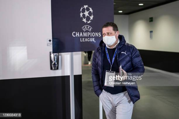 Director of Sport Max Eberl of Borussia Moenchengladbach is seen before the Group B - UEFA Champions League match between Real Madrid and Borussia...