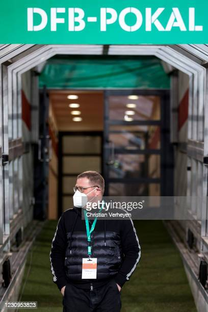 Director of Sport Max Eberl of Borussia Moenchengladbach is seen ahead the DFB Cup match between VfB Stuttgart and Borussia Moenchengladbach at...
