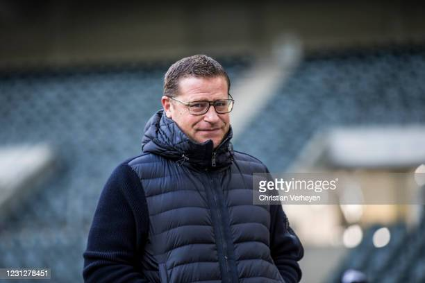Director of Sport Max Eberl of Borussia Moenchengladbach is seen before the Bundesliga match between Borussia Moenchengladbach and 1. FSV Mainz 05 at...