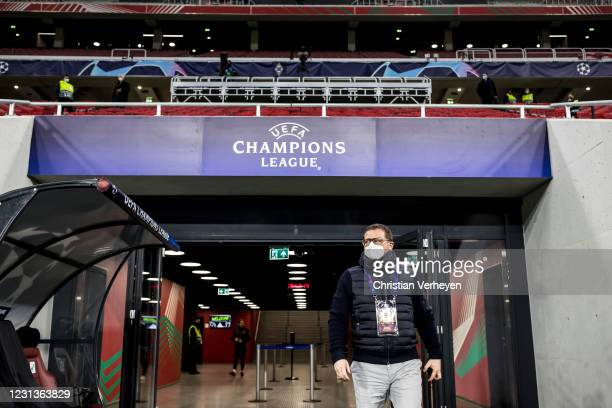 Director of Sport Max Eberl of Borussia Moenchengladbach is seen before the UEFA Champions League Round Of 16 Leg One match between Borussia...