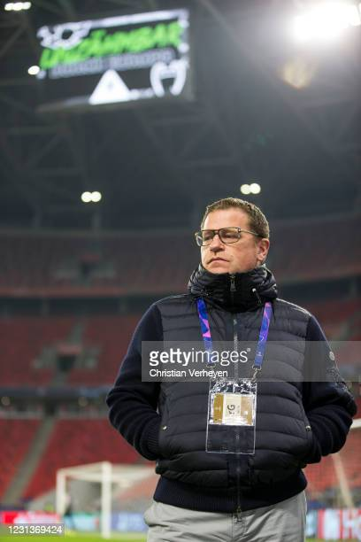 Director of Sport Max Eberl of Borussia Moenchengladbach is seen ahead the UEFA Champions League Round Of 16 Leg One match between Borussia...