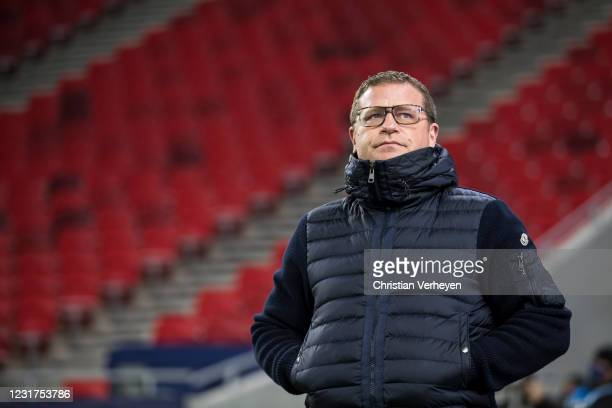 Director of Sport Max Eberl of Borussia Moenchengladbach is seen before the UEFA Champions League Round Of 16 Leg Two match between Manchester City...