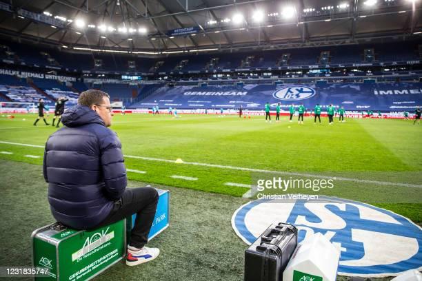 Director of Sport Max Eberl of Borussia Moenchengladbach is seen ahead the Bundesliga match between FC Schalke 04 and Borussia Moenchengladbach at...