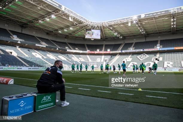 Director of Sport Max Eberl of Borussia Moenchengladbach is seen before the Bundesliga match between Borussia Moenchengladbach and DSC Arminia...