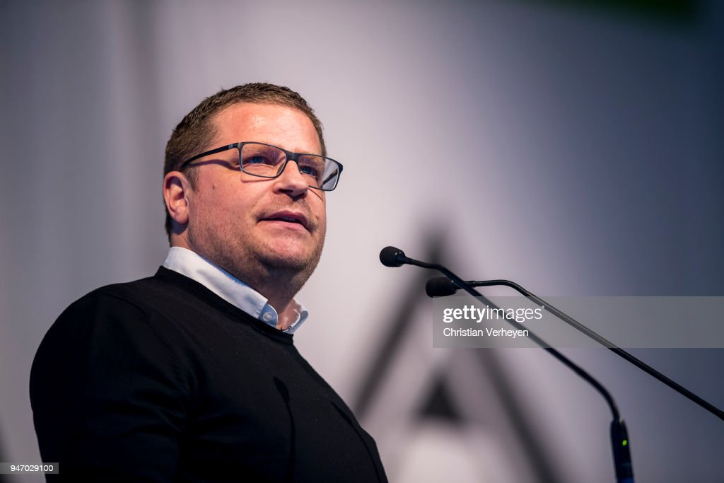 Director of Sport Max Eberl of Borussia Moenchengladbach talks during the Annual Meeting of Borussia Moenchengladbach at Borussia-Park on April 16, 2018 in Moenchengladbach, Germany.