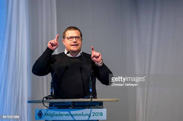 Director of Sport Max Eberl of Borussia Moenchengladbach talks during the Annual Meeting of Borussia Moenchengladbach at BorussiaPark on April 16...