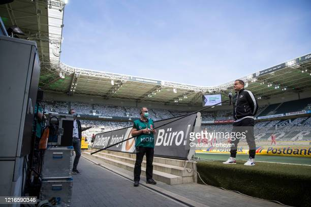Director of Sport Max Eberl of Borussia Moenchengladbach talks to the media ahead the Bundesliga match between Borussia Moenchengladbach and 1 FC...