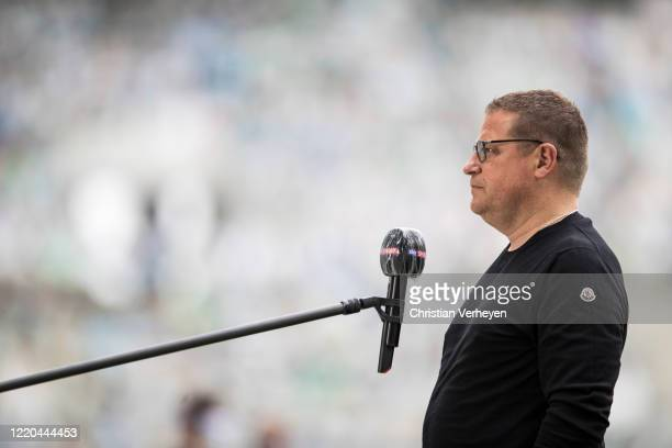 Director of Sport Max Eberl of Borussia Moenchengladbach talks to the media ahead the Bundesliga match between Borussia Moenchengladbach and VfL...