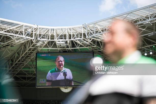 Director of Sport Max Eberl of Borussia Moenchengladbach talks to the media ahead the Bundesliga match between Borussia Moenchengladbach and Hertha...