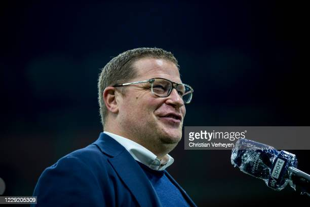 Director of Sport Max Eberl of Borussia Moenchengladbach talks to the media before the Group B UEFA Champions League match between FC Internazionale...