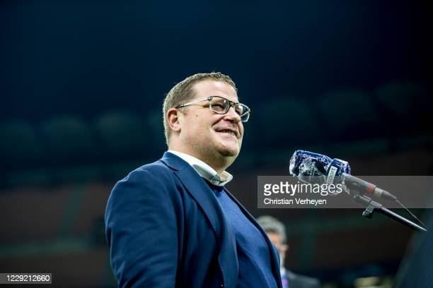 Director of Sport Max Eberl of Borussia Moenchengladbach talks to the media during the Group B UEFA Champions League match between FC Internazionale...