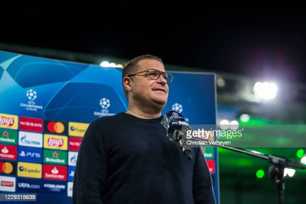 Director of Sport Max Eberl of Borussia Moenchengladbach talks to the media after the Group B UEFA Champions League match between Borussia...