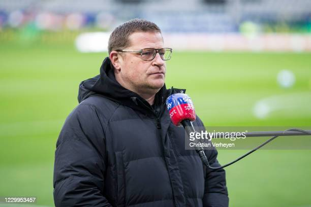 Director of Sport Max Eberl of Borussia Moenchengladbach talks to the media ahead the Bundesliga match between Sport-Club Freiburg and Borussia...